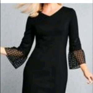 Talbots black dress with lace sleeves